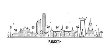 Illustration pour Bangkok skyline Thailand city vector linear style - image libre de droit