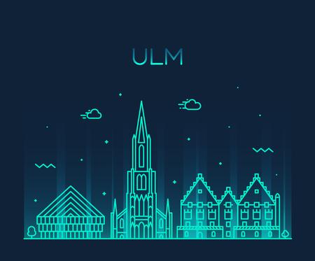 Illustration pour Ulm skyline Germany Baden vector linear style - image libre de droit