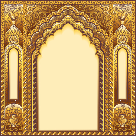 Illustration for Vector Indian ornamented arch. Color Gold. - Royalty Free Image