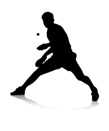 An abstract vector illustration of a table tennis player during a return.