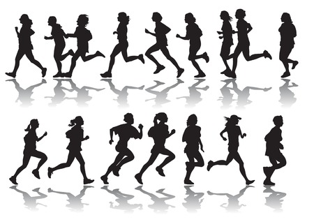 vector drawing running a marathon women's sports
