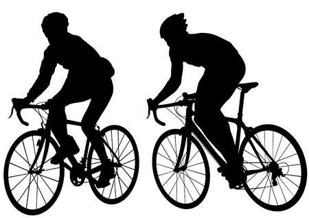 Vector drawing silhouette of a cyclist boy. Silhouette of people mural