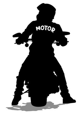 Illustration pour Silhouettes of big motorcycl and people - image libre de droit
