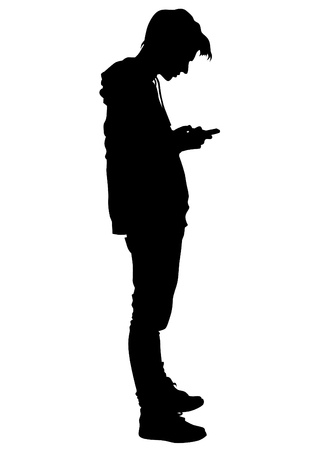 Illustration for Young man with a phone on a white background - Royalty Free Image