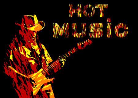 Illustration pour Musician with guirar in blues style on white background - image libre de droit