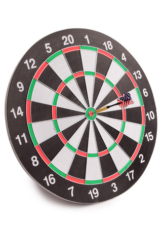 Photo for Target for darts whit american flag on white background - Royalty Free Image