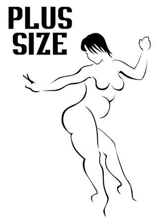 Illustrazione per Beauty woman with a fat figure on white background - Immagini Royalty Free