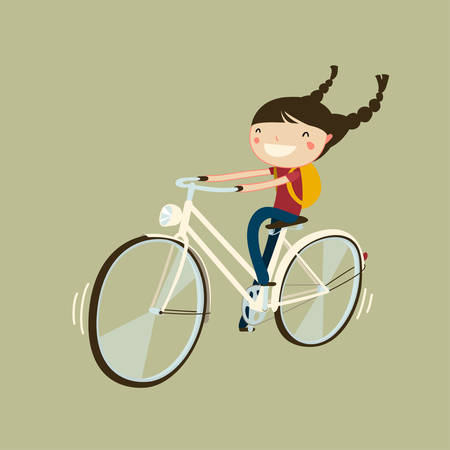 Illustration pour cute cheerfull girl riding a bicycle isolated cartoon character - image libre de droit