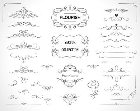 Illustration pour Set of flourish frames, borders, labels. Collection of original design elements. Vector calligraphy swirls, swashes, ornate motifs and scrolls. - image libre de droit