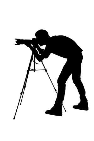 Photo for Photographer shooting. Side view silhouette of man using tripod while shooting and standing isolated on white - Royalty Free Image