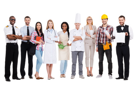 Photo for Choose your profession. Group of diverse people in different occupations standing close to each other and against white background and smiling - Royalty Free Image