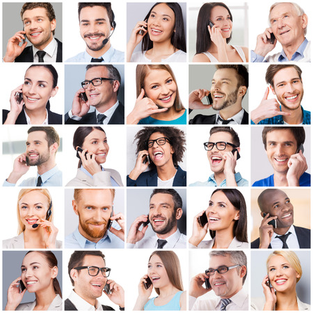 Foto de Communication makes people closer. Collage of diverse multi-ethnic and mixed age people expressing positivity while talking on the mobile phones - Imagen libre de derechos