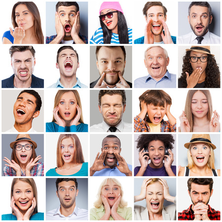 Foto de Diverse people with different emotions. Collage of diverse multi-ethnic and mixed age range people expressing different emotions - Imagen libre de derechos