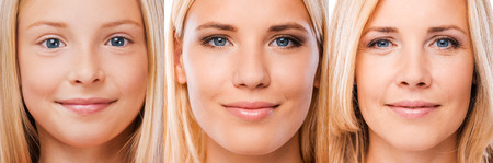 Photo for Aging process. Composition of three images with blond hair women of different ages looking at camera and smiling - Royalty Free Image