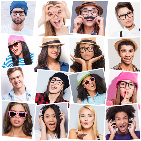 Foto de Young and carefree. Collage of diverse multi-ethnic young people expressing different emotions - Imagen libre de derechos