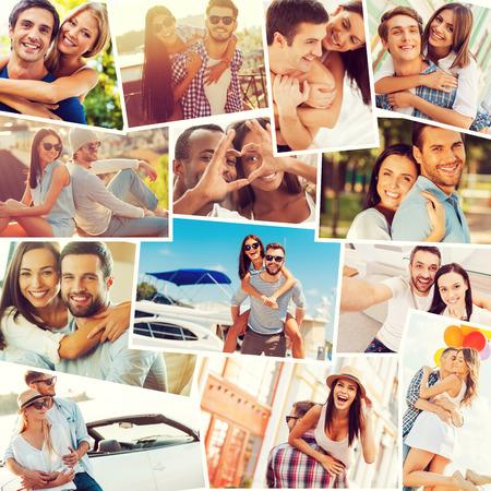 Photo pour Loving couples. Collage of diverse multi-ethnic loving couples expressing positivity - image libre de droit