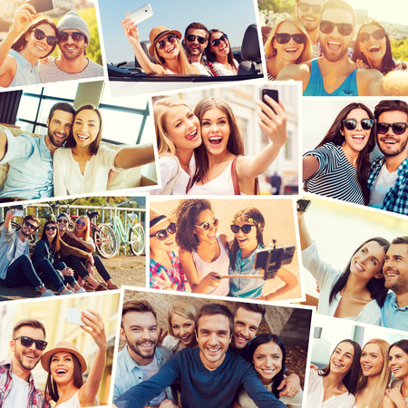 Photo for We love selfie! Collage of diverse multi-ethnic young people making selfie and expressing positivity - Royalty Free Image