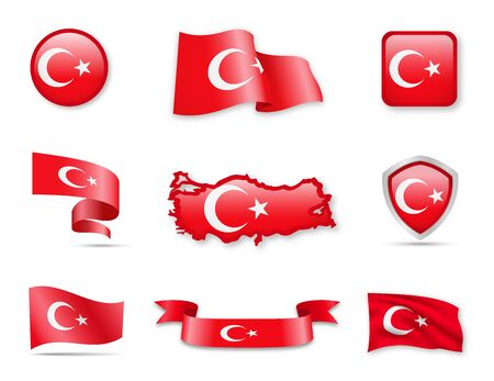 Illustration pour Turkey Flags Collection. Flags and maps. Vector illustration - image libre de droit