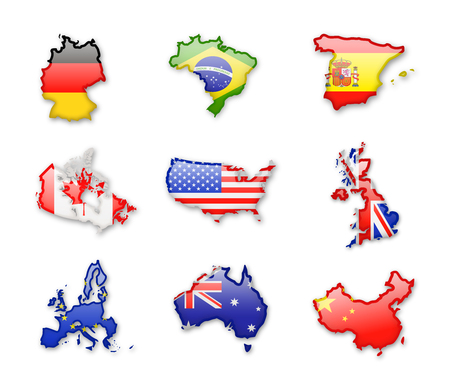 Illustration pour Collection of worlds largest countries flags isolated on white. Vector Icon set. - image libre de droit