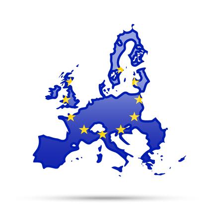 Illustration pour Flag of European Union and contour of the country. - image libre de droit