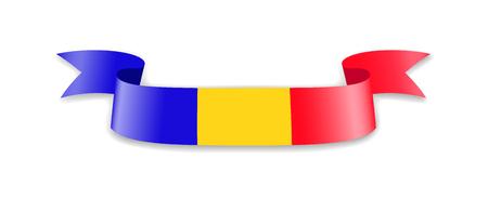 Photo pour Romania flag in the form of wave ribbon. Vector illustration. - image libre de droit