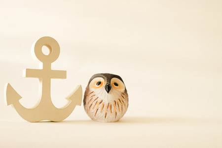 Photo for wooden anchor in vintage with owl decorative background - Royalty Free Image