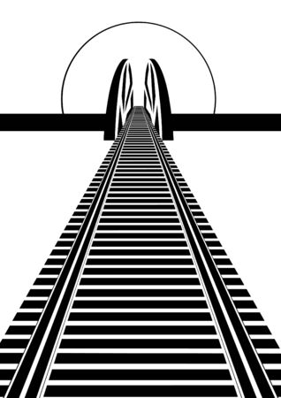 Railway line and railway bridge. Black and white illustration