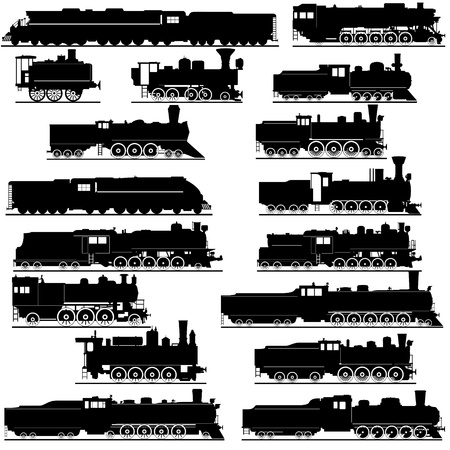 Old railway. Black and white illustration of a white background.