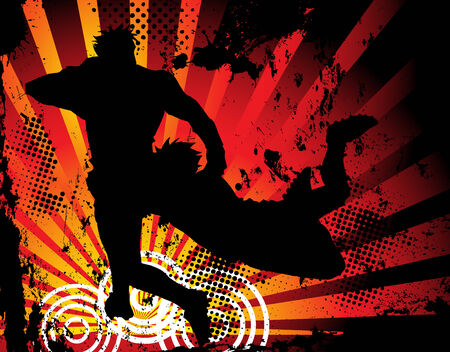 Rugby players silhouette on grunge background