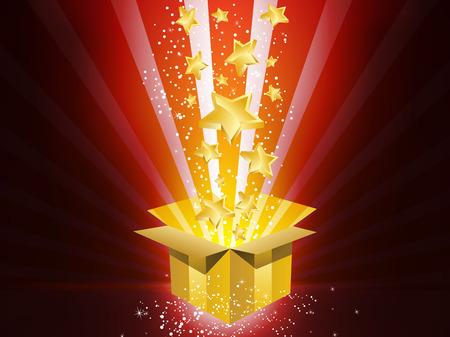 Illustration pour  Christmas Golden Gift Box with Stars - image libre de droit
