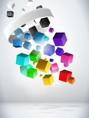 Photo pour  Colorful Flying Cubes Background - image libre de droit
