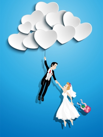 Illustration for Vector - Just married couple flying with a heart shaped balloon - Royalty Free Image