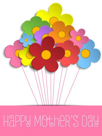 Illustration pour Vector - Happy Mothers Day Card with Flowers - image libre de droit