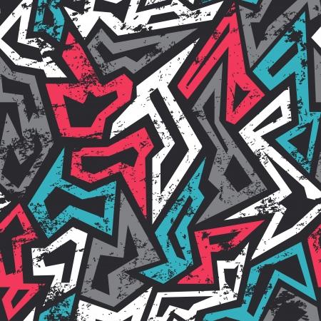 Ilustración de colored graffiti seamless pattern with grunge effect - Imagen libre de derechos