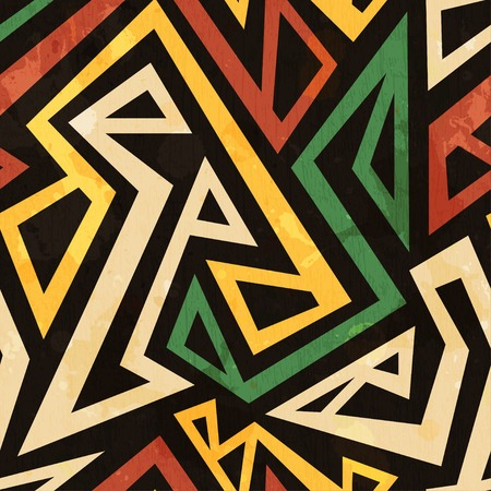 Photo for african geometric seamless pattern with grunge effect - Royalty Free Image