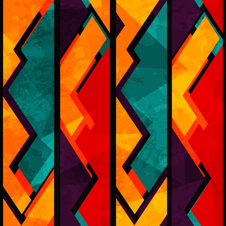 Illustration pour african geometric seamless pattern with grunge effect - image libre de droit