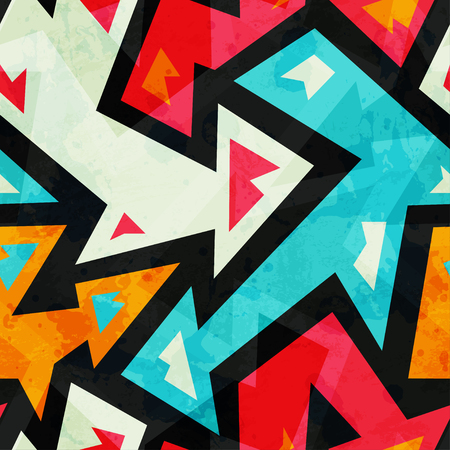 graffiti arrows seamless pattern with grunge effect mural