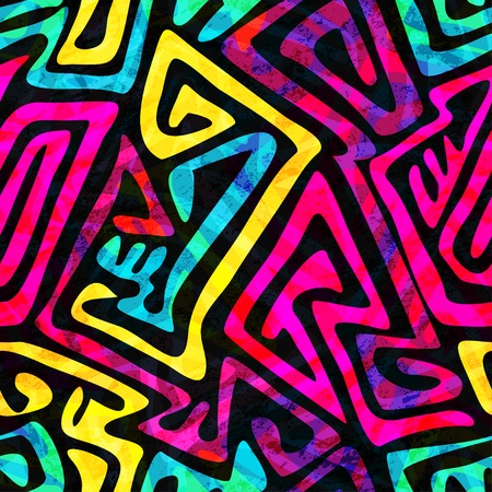 Illustration pour psychedelic seamless pattern with grunge effect - image libre de droit