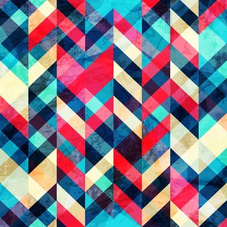 Ilustración de hipster zigzag seamless pattern with grunge effect - Imagen libre de derechos