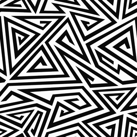 Illustration for monochrome spiral triangle seamless pattern - Royalty Free Image