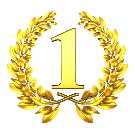 Photo for Congratulation one Golden laurel wreath with number one inside  - Royalty Free Image