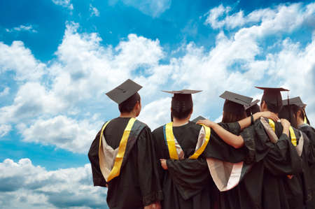 Photo for back of chinese graduates with blue sky - Royalty Free Image