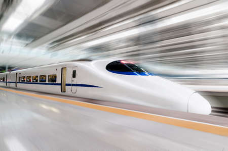 Foto per modern high speed train with motion blur - Immagine Royalty Free