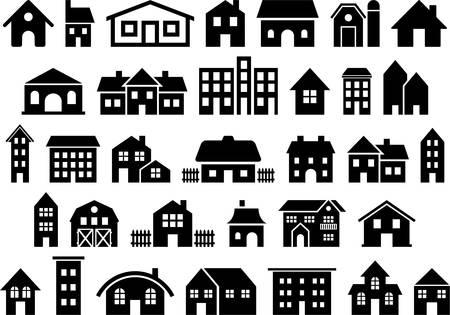 Illustration pour Set of vectorized Houses - image libre de droit