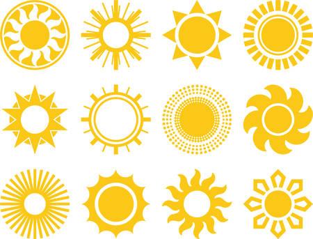 Illustration pour Set of vectorized Suns - image libre de droit