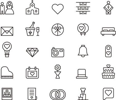 Photo pour WEDDING and LOVE outlined icons - image libre de droit