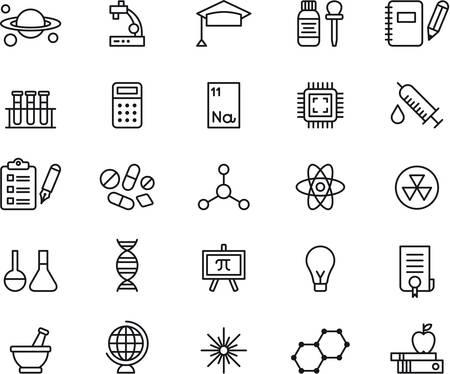 Ilustración de SCIENCE outlined icons - Imagen libre de derechos