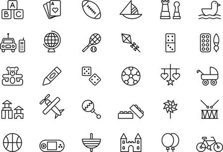Illustration pour TOYS outlined icons - image libre de droit