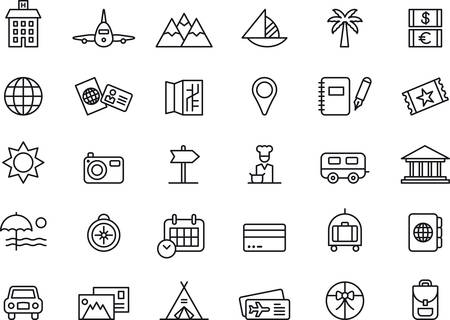 TRAVEL and VACATION outlined icons