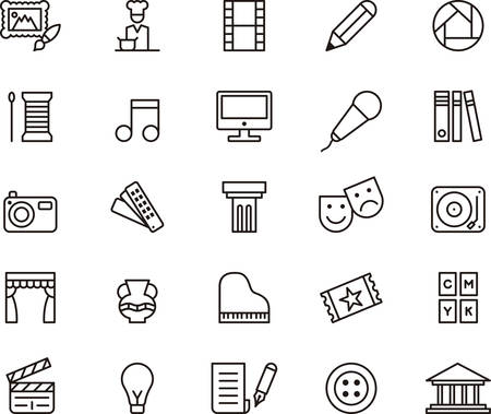 Illustration for ARTS and ENTERTAINMENT outlined icons - Royalty Free Image